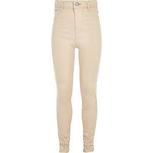 Molly – Jeggings in Pink mit verziertem Saum