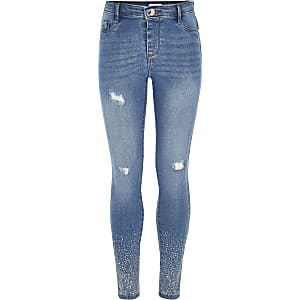 Girls blue studded hem ripped Molly jeggings