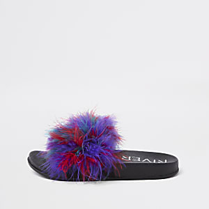 Girls red faux feather multi color sliders