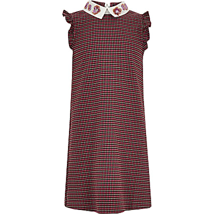 Girls pink check shift dress
