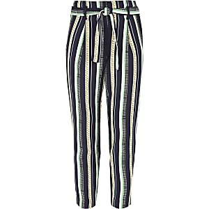 Pantalon imprimé chaîne bleu marine noué sur le devant pour fille