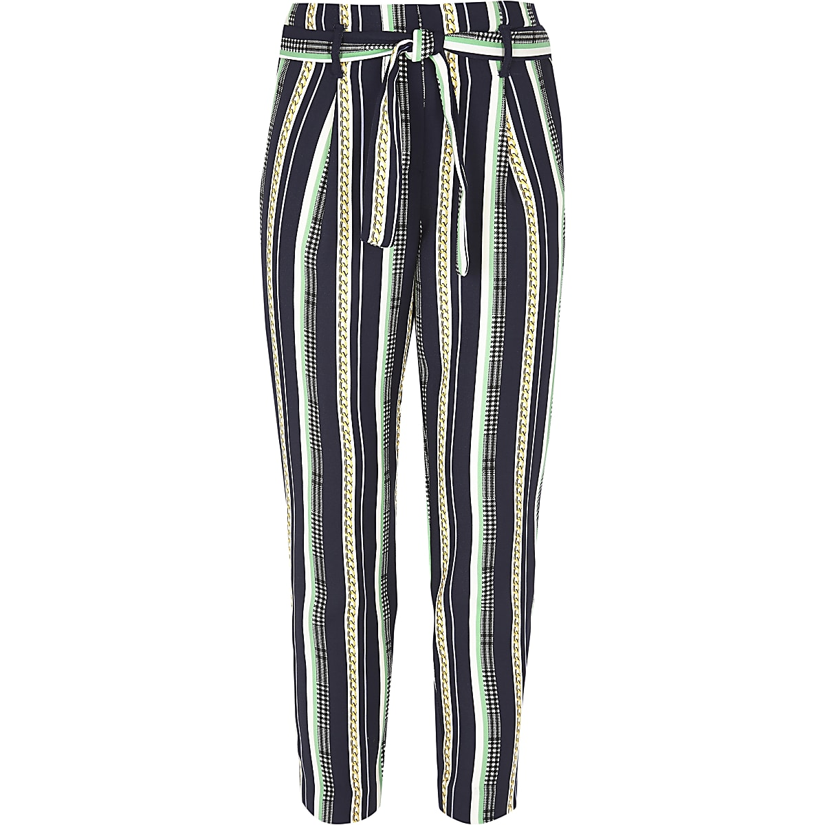 Girls navy chain print tie front trousers
