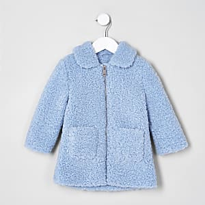 Mini girls blue shearling faux fur jacket