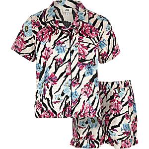 Roze pyjamaset met bloemen en zebraprint voor meisjes
