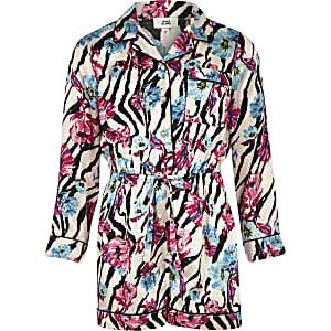 Girls pink zebra floral print pajama romper