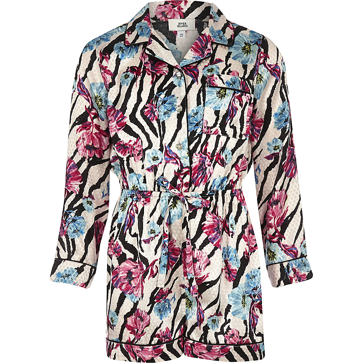 Girls pink zebra floral print pyjama playsuit
