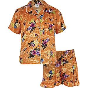 Geblümtes Pyjama-Set in Orange