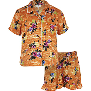 Girls orange floral print pajama set