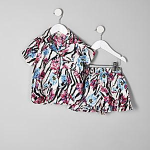 Combi-short de pyjama à imprimé zèbre fleuri rose mini fille