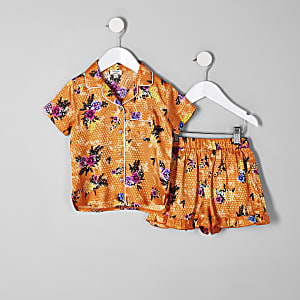 Mini - Oranje pyjamaset met bloemenprint voor meisjes