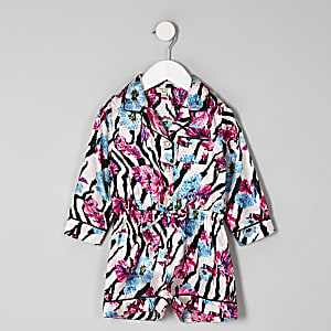 Mini girls pink zebra floral pajama romper