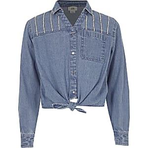 Blauw overhemd met diamantjes, knopen en strik voor meisjes
