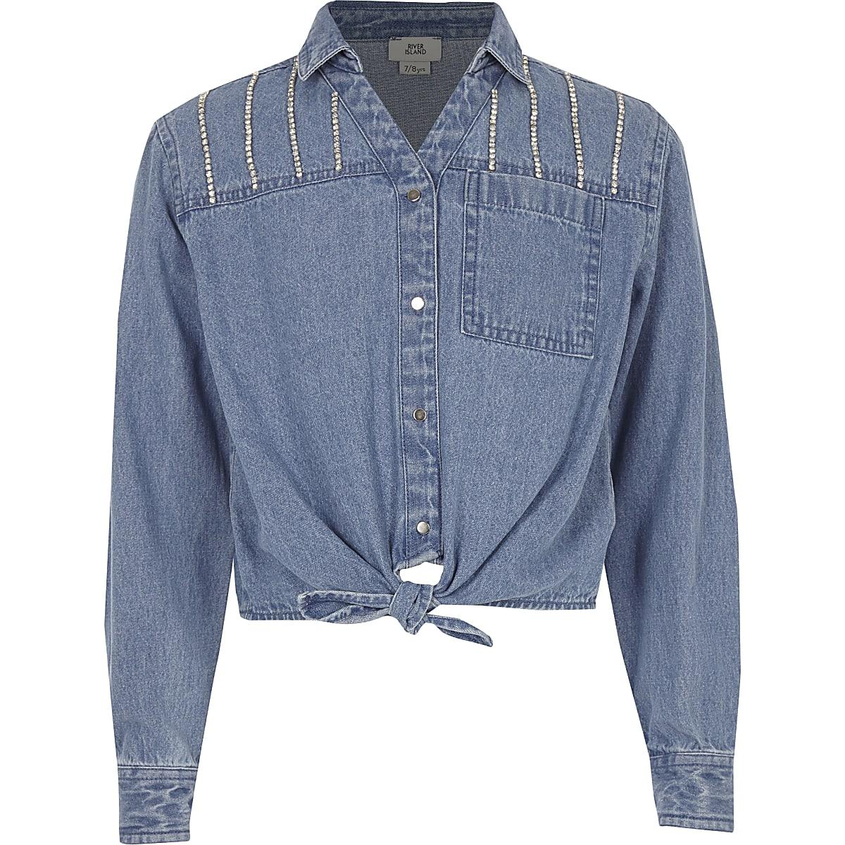 Girls blue rhinestone button-up tie shirt
