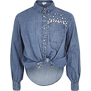 Girls blue embellished button-up tie shirt
