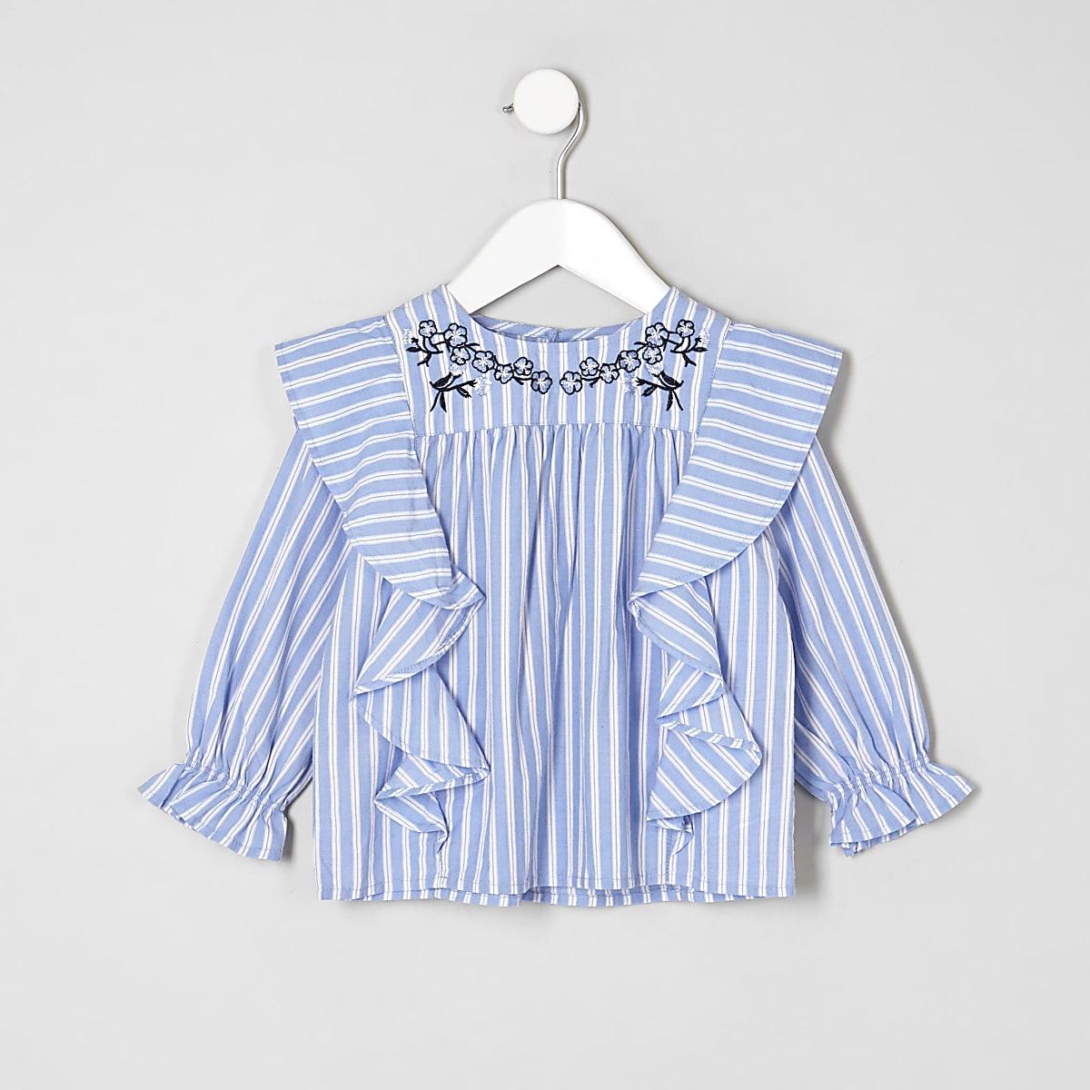 Mini - Blauwe gestreepte swingtop voor meisjes