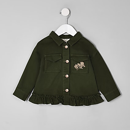 Mini girls khaki peplum shacket