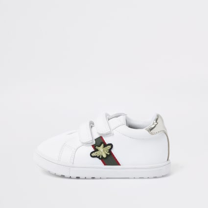 Mini girls white stripe bee trainers