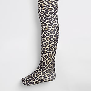 Girls leopard print tights