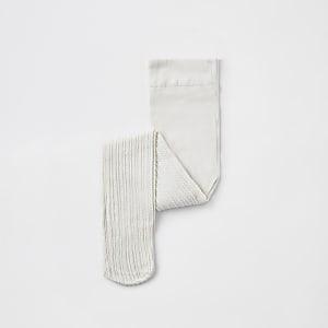 Mini girls cream cable knit tights