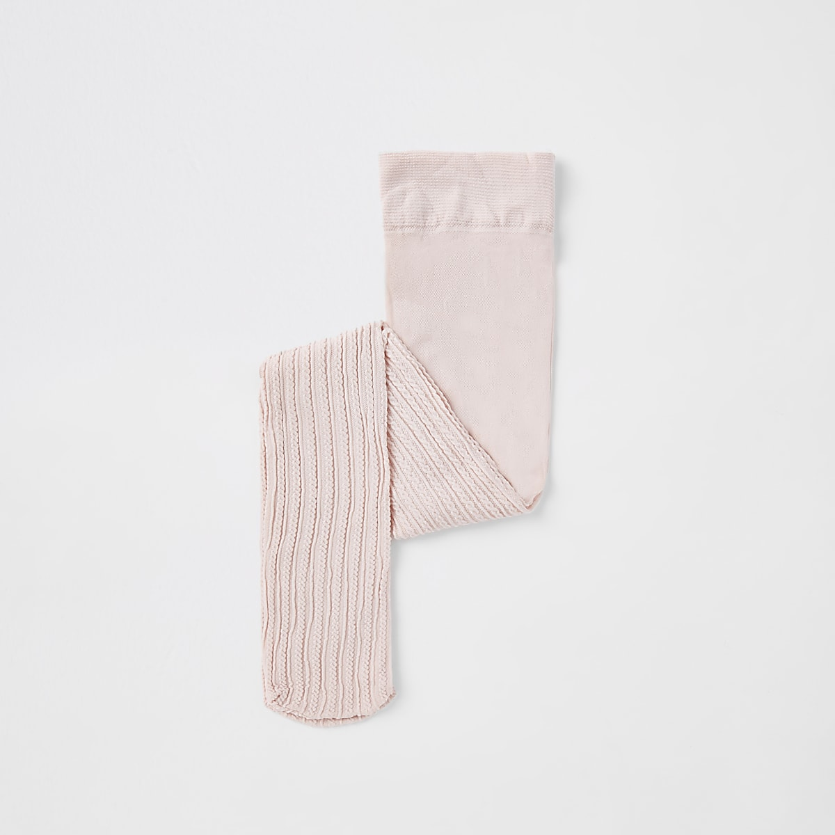 Mini girls pink cable knit tights