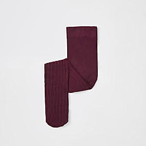Mini girls dark red cable knit tights