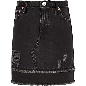 Girls black frayed hem denim skirt