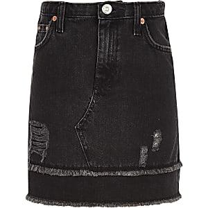 Zwarte denim rok met gerafelde zoom voor meisjes