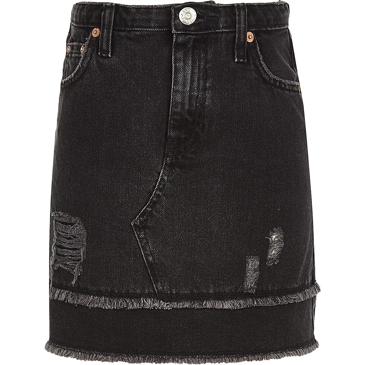 Girls black frayed hem denim skirt