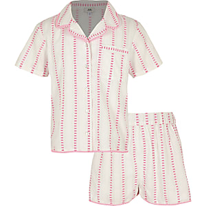 Girls pink stripe pajama set
