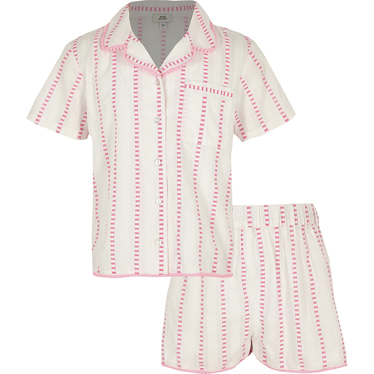Girls pink stripe pyjama set