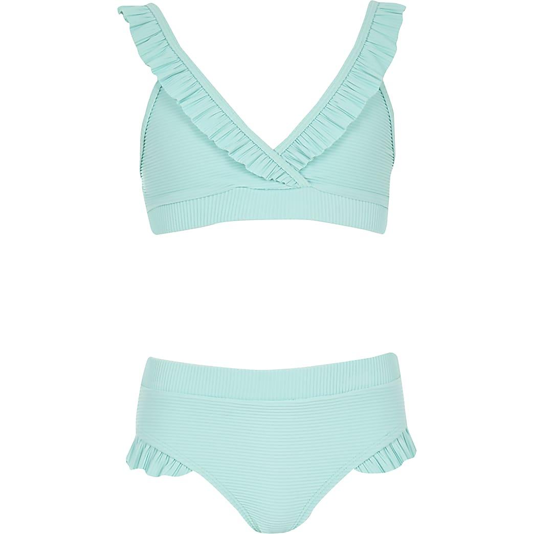 Girls blue rib frill bikini set
