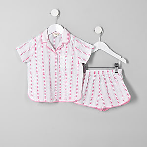 Mini girls pink stripe pajama set