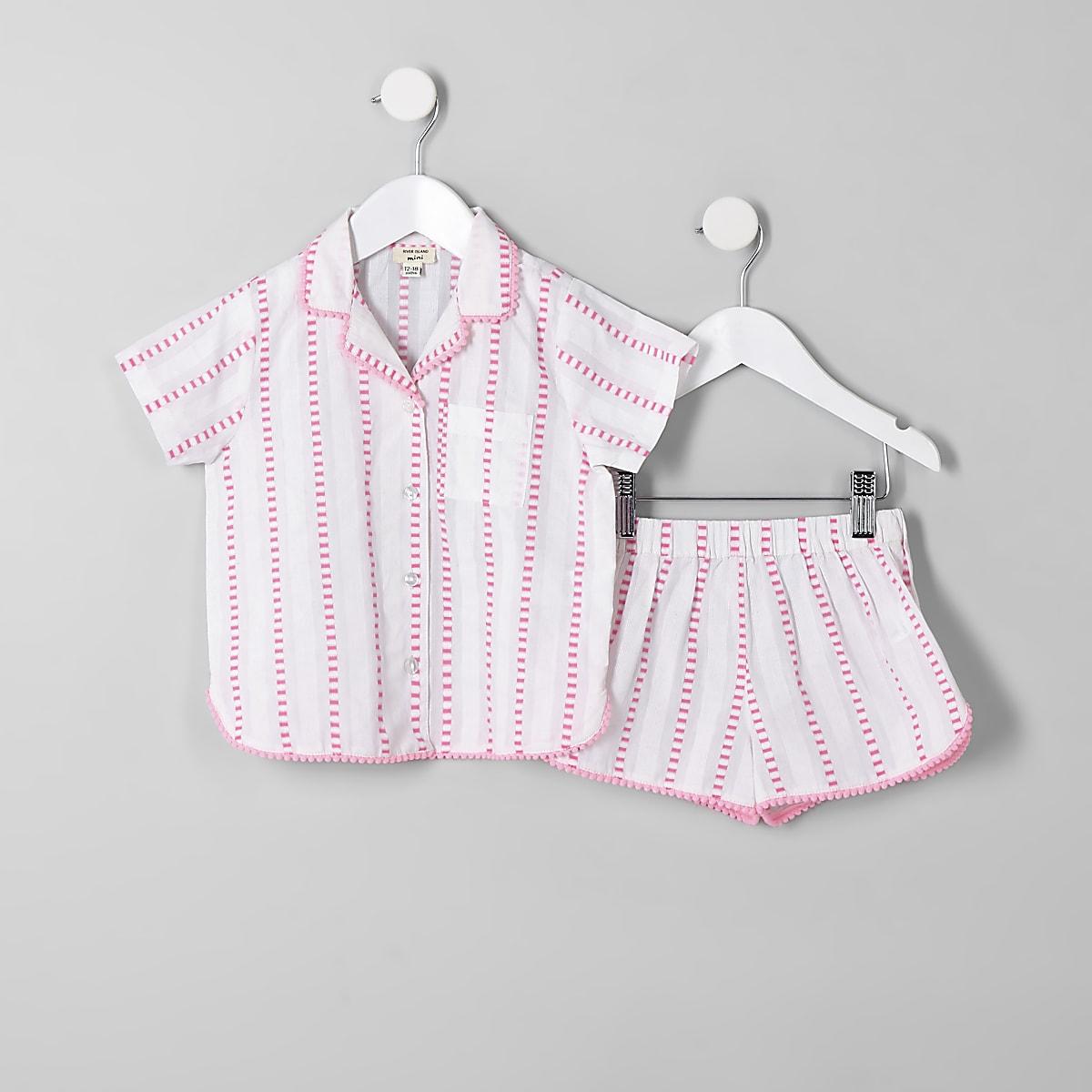 Mini girls pink stripe pyjama set