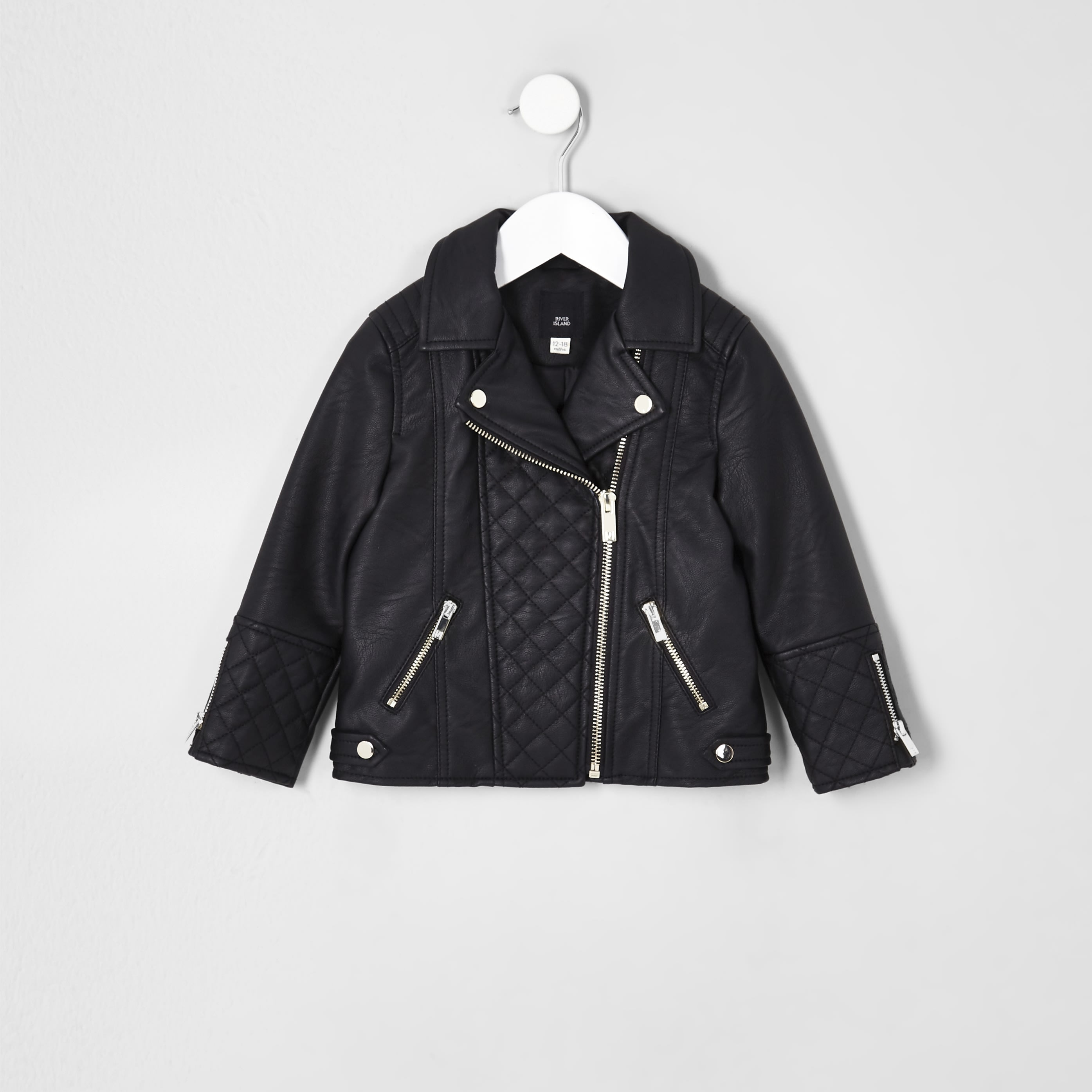 RIVER ISLAND | Mini Girls Black Faux Leather Biker Jacket | Goxip