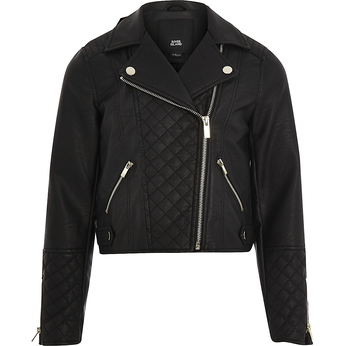 Girls black faux leather quilted biker jacket