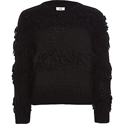 Girls black fringe trim hand knitted jumper