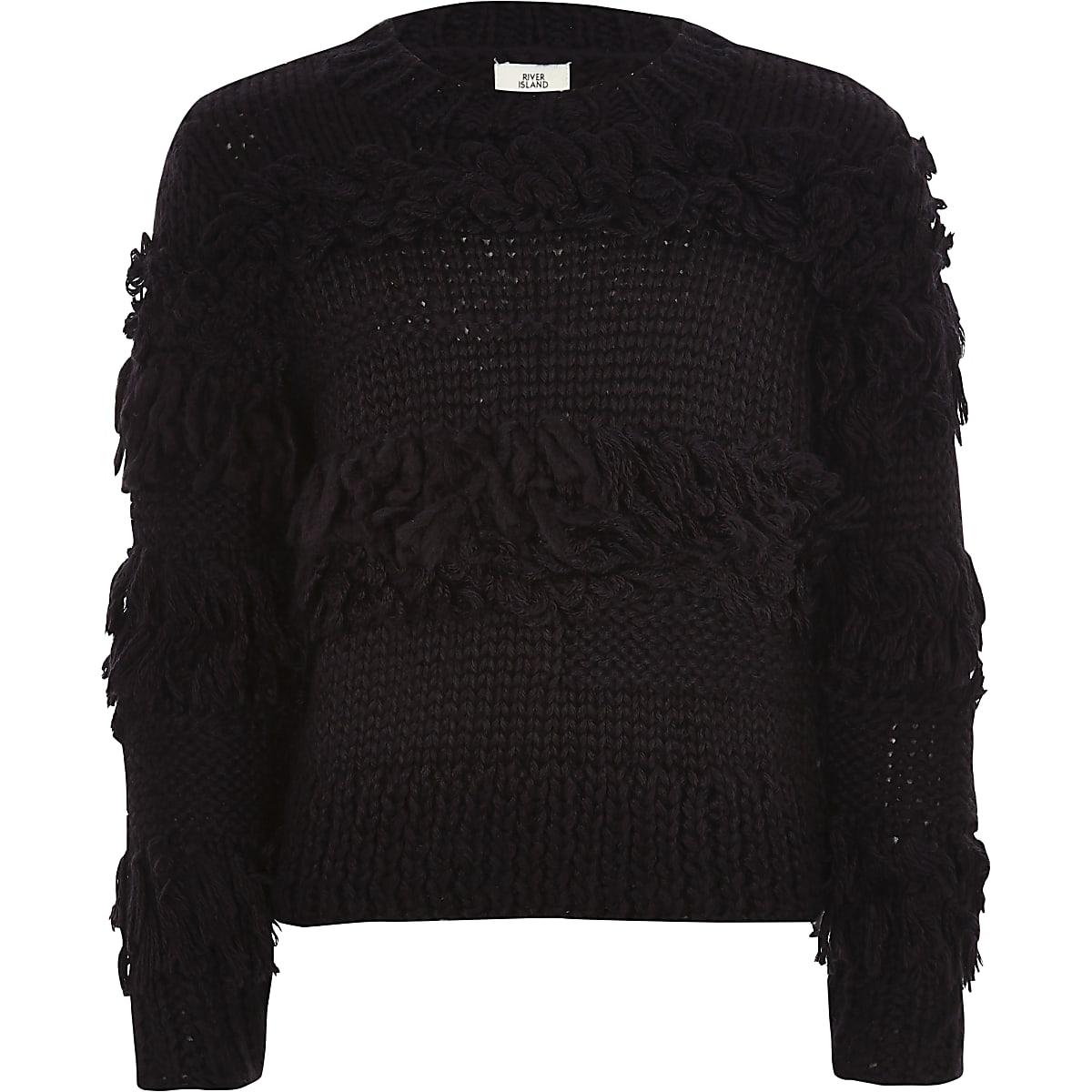 Girls black fringe trim hand knitted jumper
