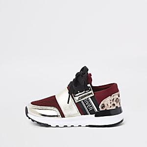 Mini girls red leopard print runner sneakers