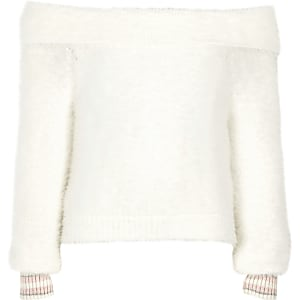Girls cream bardot fluffy knit tipped sweater