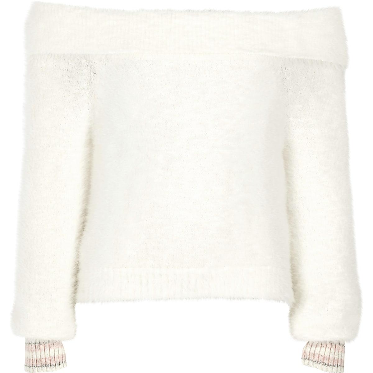 Girls cream bardot fluffy knit tipped jumper