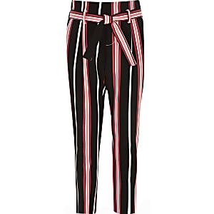 Girls black stripe tie waist tapered pants