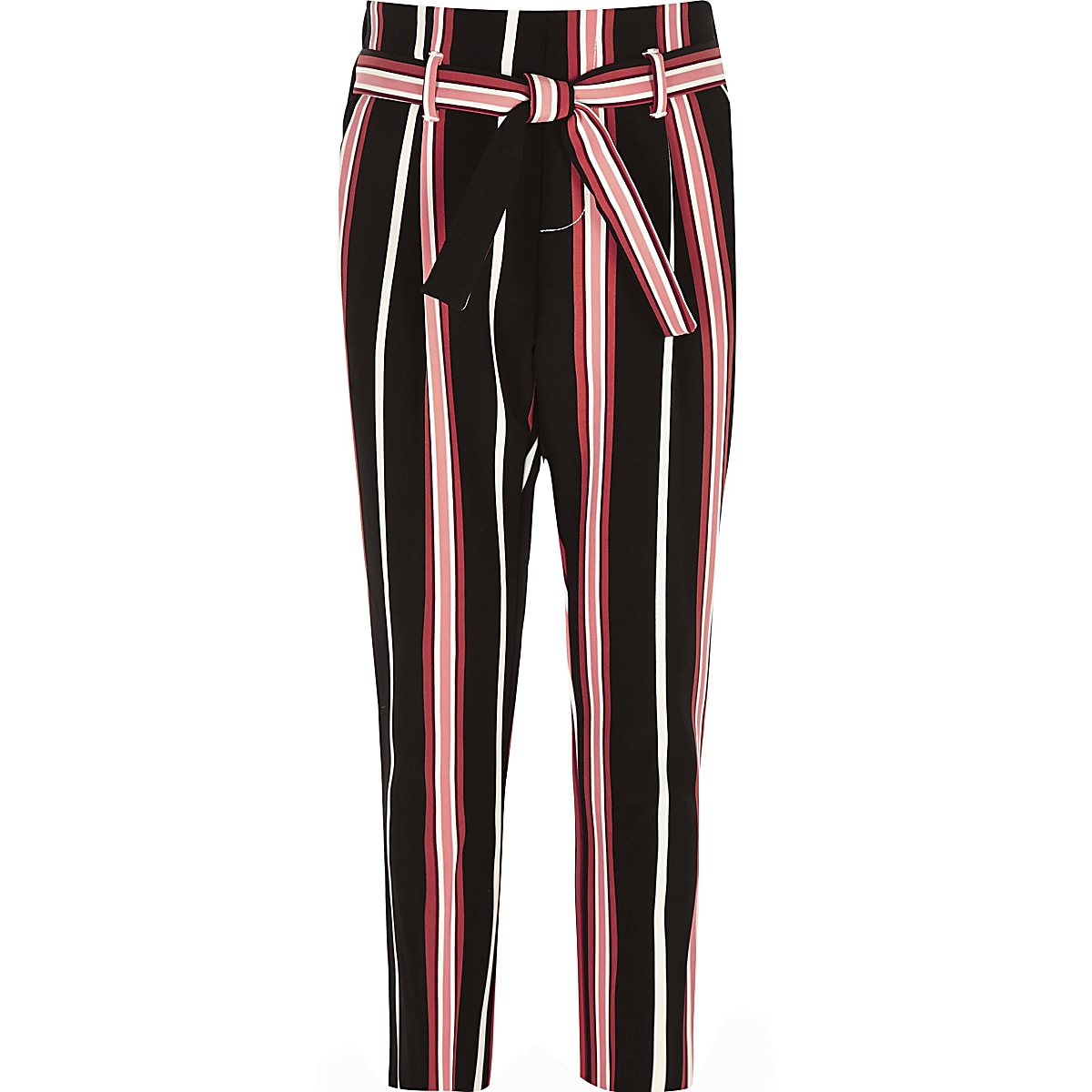 Girls black stripe tie waist tapered trousers