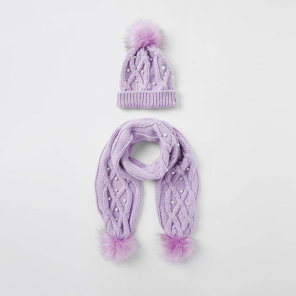 Girls purple pearl faux fur beanie hat set