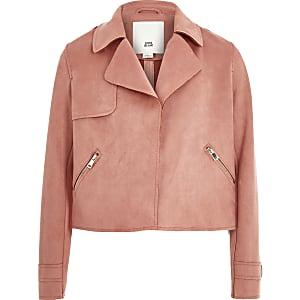 Roze trenchcoat van imitatiesuède voor meisjes