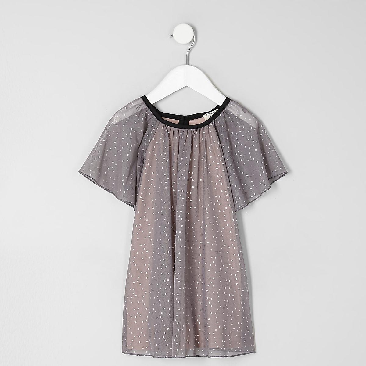 Mini girls grey dotty mesh dress