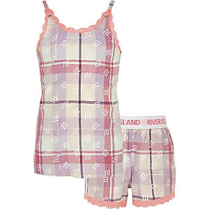Pinkfarbenes kariertes Pyjama-Set