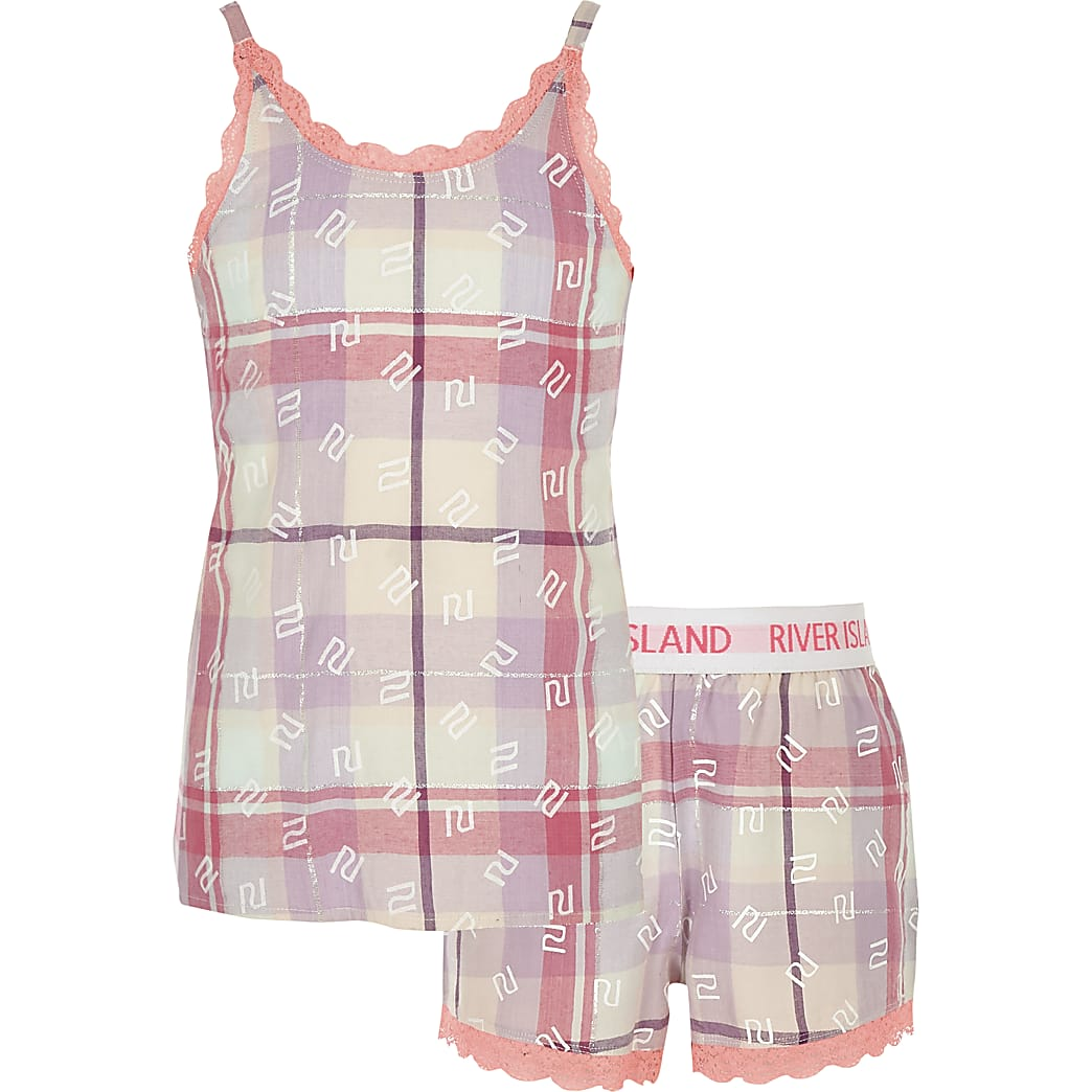 Girls pink check pyjamas