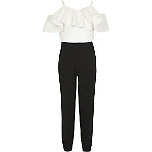 Girls white and black frill bardot jumpsuit