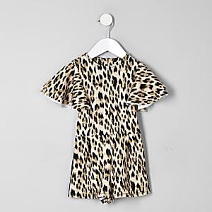 Mini girls beige leopard print frill playsuit