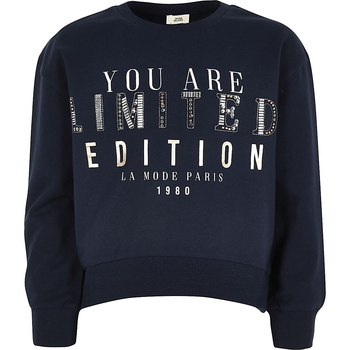 Girls navy 'limited edition' sweatshirt
